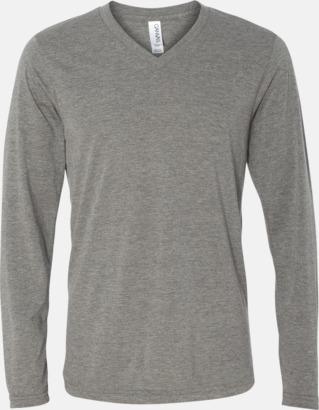Grey Triblend (heather) Långärmade V-neck t-shirts i unisexmodell med reklamtryck