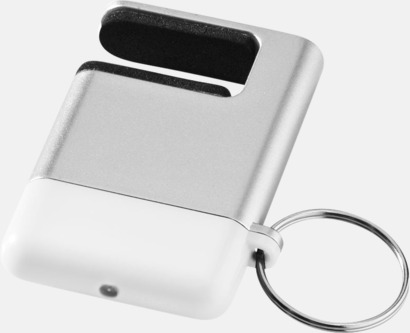 Silver / Vit Skärmrengörare, ställ och nyckelring - med reklamtryck