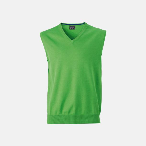 Grön V-ringad pullover med eget tryck