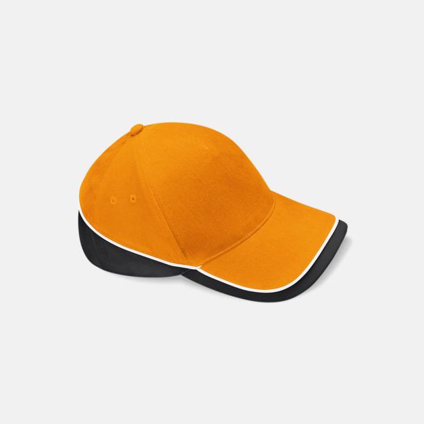 """Orange/Svart/Vit Tuffare """"innekeps"""" med eget tryck eller brodyr"""