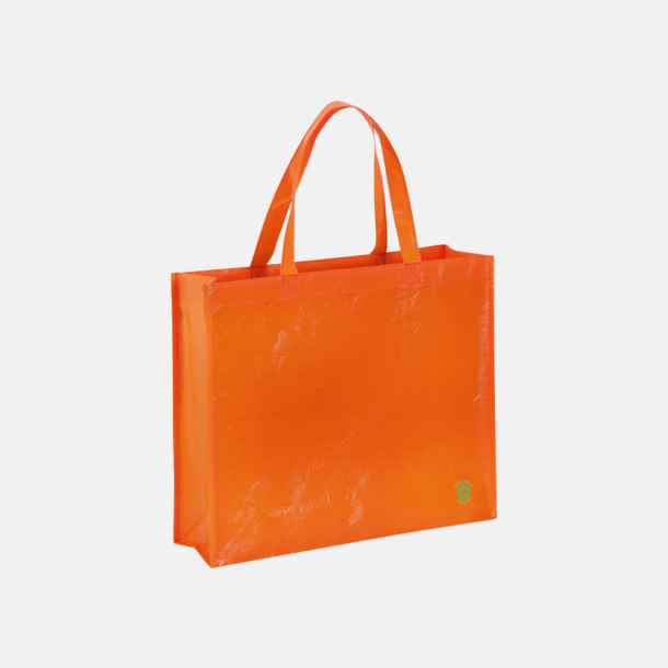Orange Shoppingbagar med korta handtag - med tryck