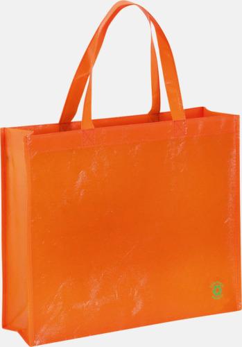 Orange Shoppingbagar med korta handtag - med tryck