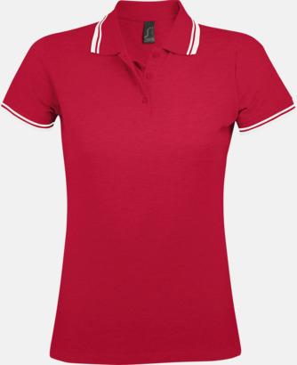 Röd/Vit (dam) Herr- och dampikéer med kontrasterande ränder - med tryck eller brodyr