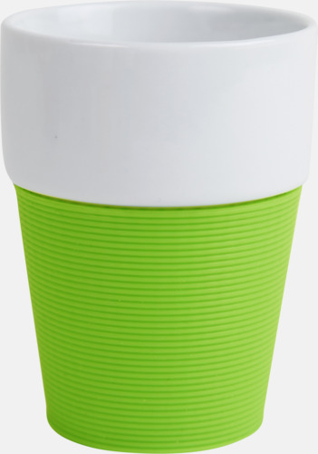 Lime/vit Stapelbara take away-muggar med reklamtryck