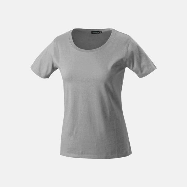 Ljusgrå T-shirtar av kvalitetsbomull med eget tryck
