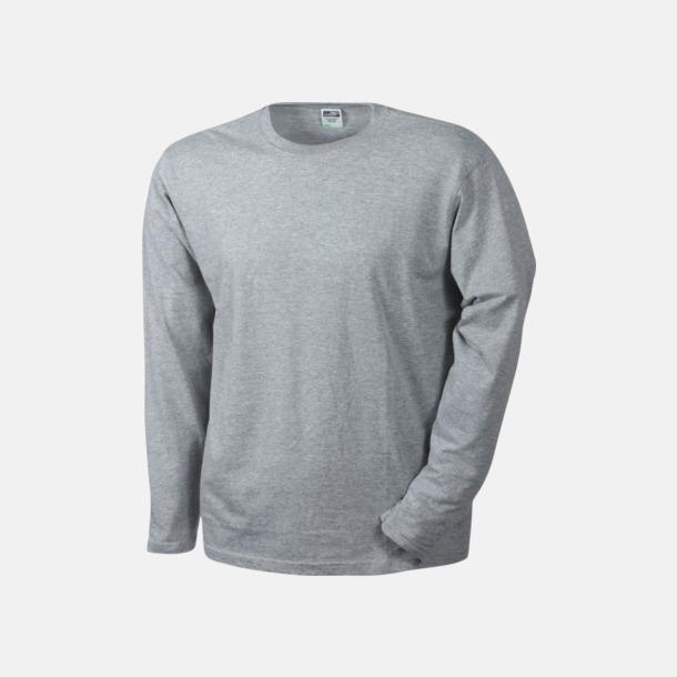 Grey Heather (herr) Långärmade t-shirts i herr-, dam- & barnmodell med reklamtryck