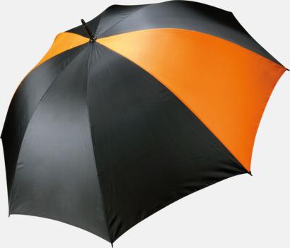 Svart/Orange Stormsäkra, 2-färgade paraplyer med reklamtryck