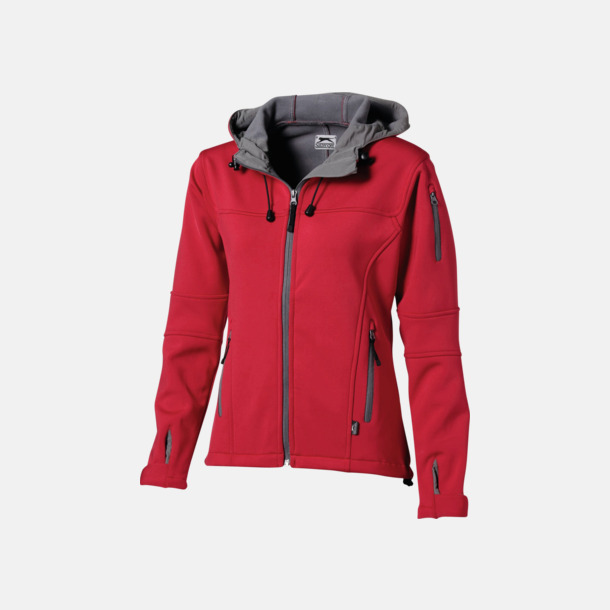 Röd/Grå  solid (dam) Soft-shell-jackor i herr- & dammodell med reklamtryck