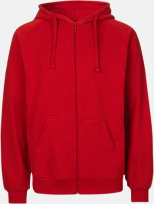 Röd (herr) Ekologiska huvtröjor med blixtlås i herr- & dammodell med reklamtryck