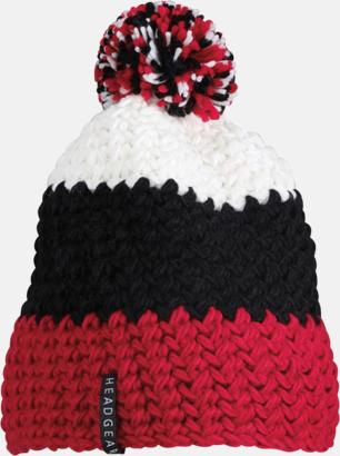 Röd/svart/vit Grovvirkade toppluvor med brodyr