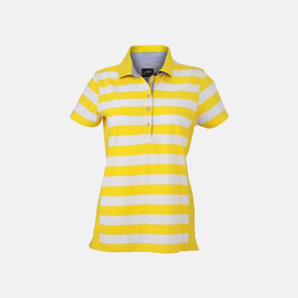 Sun Yellow/Vit (dam) Randiga pikéer i herr- & dammodell med reklamtryck