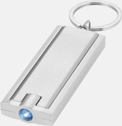 Silver/grå Ficklampa till nyckelringen med reklamtryck