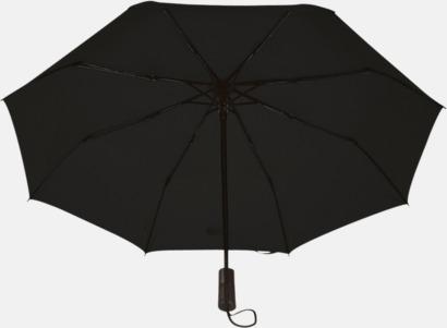 Svart Automatiska kompaktparaplyer med reklamtryck