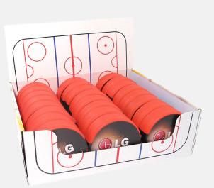 Hockeypuck i plast fyllda med reklamgodis