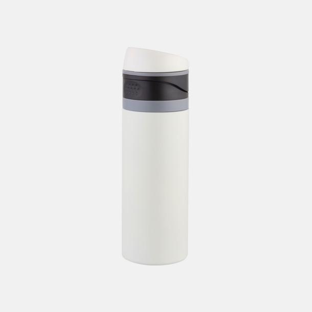 Mattvit 0,4 liters ståltermosmugg med reklamtryck
