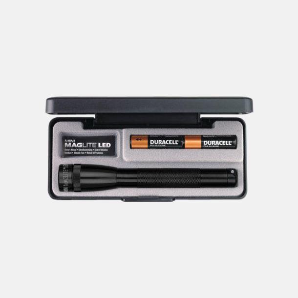 Svart Maglites Mini LED AA med reklamlogga