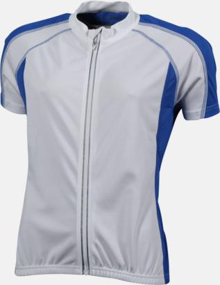 Vit/Royal (dam) Herr- och damcykeltröjor med hel dragkedja - med reklamtryck