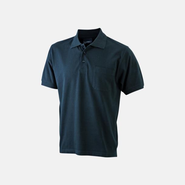 Svart Fickförsedda pikétröjor med reklamtryck