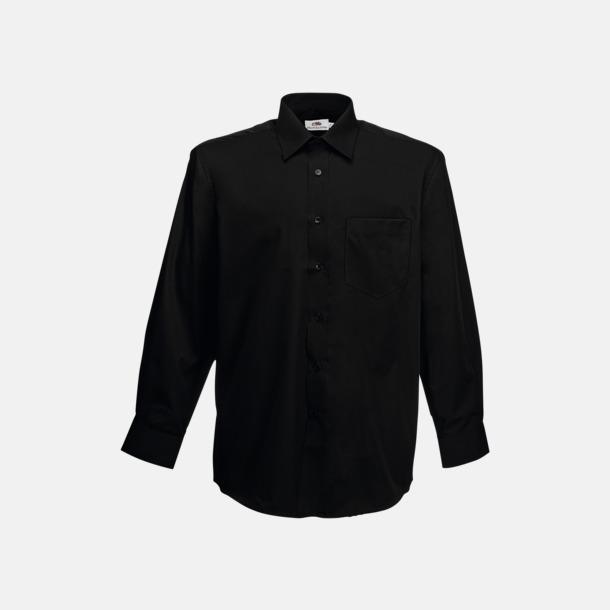 Svart Long Sleeve Poplin Shirt med reklamlogo