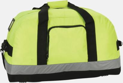 Hi-Vis Yellow Sport- och resebag med reflexband - med reklamtryck