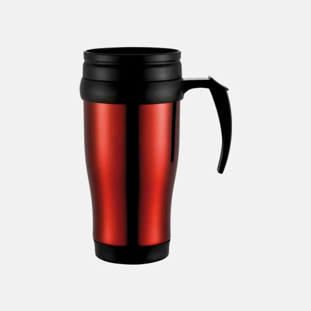 Röd 0,35 liter termosmuggar med spillskydd - med tryck