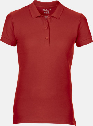Röd Billiga dampikétröjor med tryck