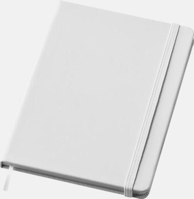 Vit (medium) Notisblock med PVC-omslag - med tryck