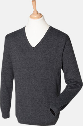 Grey Marl (herr) V-neck jumper i herr- & dammodell med reklamtryck