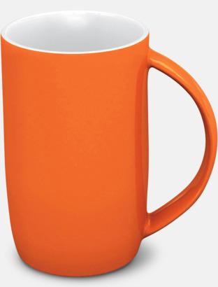 Orange/vit Porslinsmuggar med eget tryck