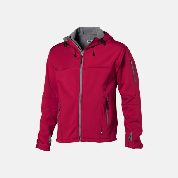 Röd/Grå  solid (herr) Soft-shell-jackor i herr- & dammodell med reklamtryck