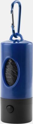 Blå Hundpåsar i behållare med karbinhake & ficklampa - med reklamtryck