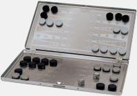 Backgammon (silver) Spel för resan med tryck