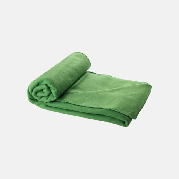 Grön Fleecefilt och bag - med reklamtryck