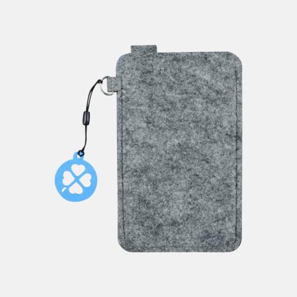 Grå/Blå (liten 4) Mobilfodral i filt med reklamtryck