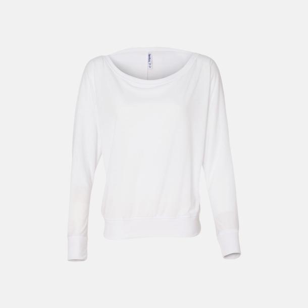 Vit Långärmade dam t-shirts med reklamtryck