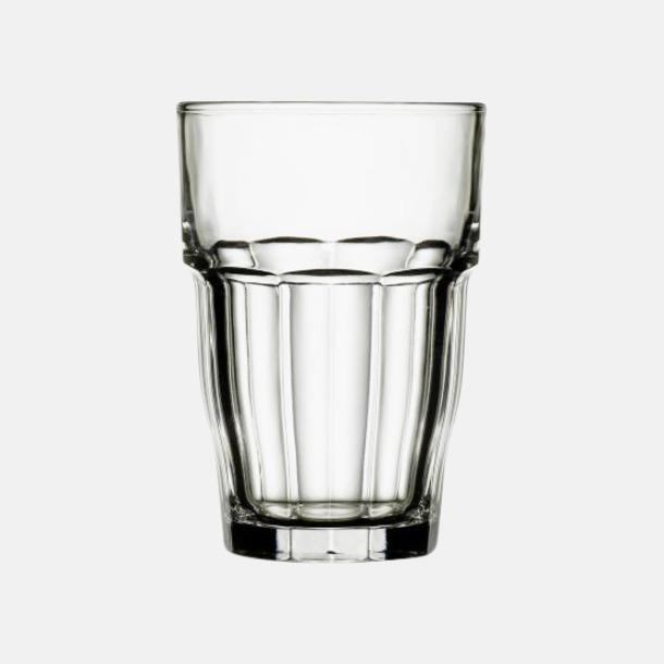 Transparent Stapelbara barglas med reklamtryck