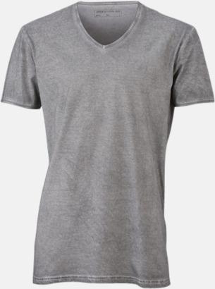 Grå (herr) Trendiga v-neck t-shirts i herr- och dammodell med reklamtryck