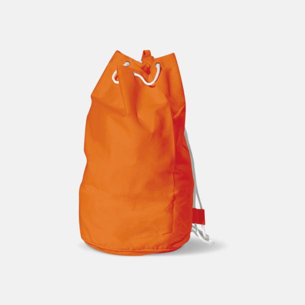 Orange Sjömansväska i bomull med eget tryck