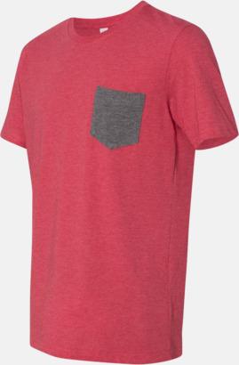 Heather Red/Deep Heather Herr t-shirts med bröstficka i kontrasterande färg - med reklamtryck