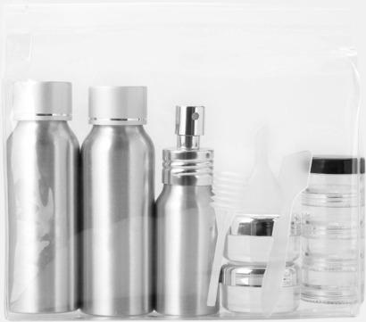 Transparent/Silver Reseflask set i aluminium med reklamtryck