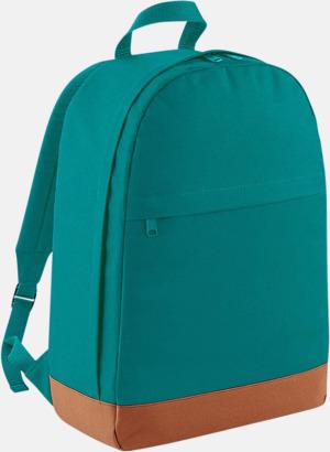 Emerald/Tan Ryggsäckar i retrostil med reklamtryck
