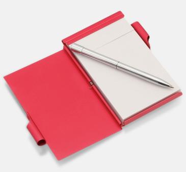 Röd Notisblock med penna