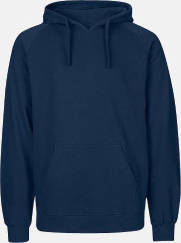 Marinblå (herr) Ekologiska huvtröjor för herr och dam med tryck