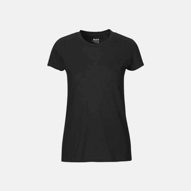 Svart (dam) Fitted t-shirts i ekologisk fairtrade-bomull med tryck