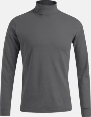 Ljusgrå (solid) Långärmad t-shirt med turtle neck - med tryck