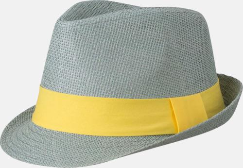 Ljusgrå/Gul Fina sommarhattar i många färger med reklambrodyr