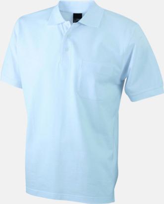 Vit Fickförsedda pikétröjor med reklamtryck