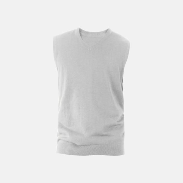 Grey Melange Ärmlösa pullovers med reklamlogo