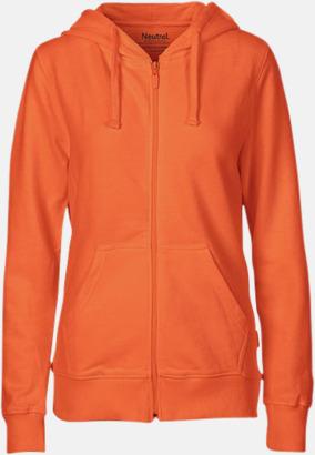 Orange (dam) Ekologiska huvtröjor med blixtlås i herr- & dammodell med reklamtryck