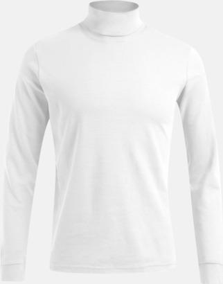 Vit Långärmad t-shirt med turtle neck - med tryck